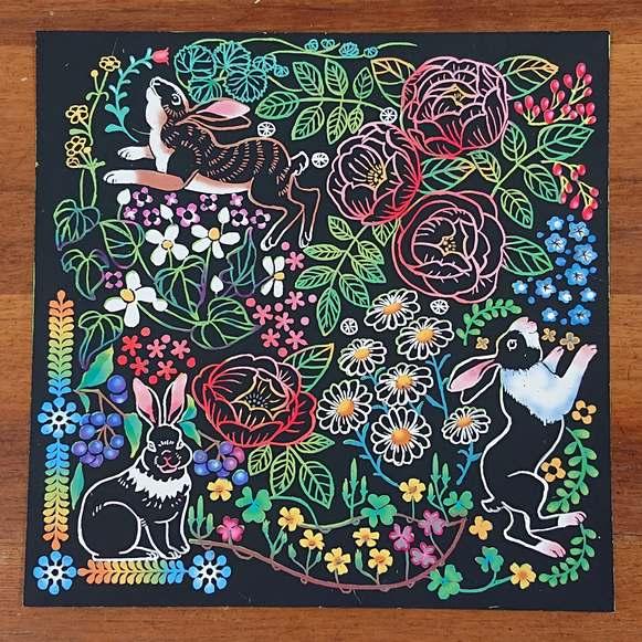 花と動物たちのファンタジー ウサギ