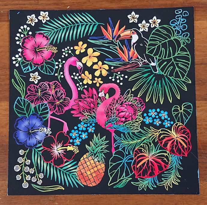 花と動物たちのファンタジー フラミンゴ